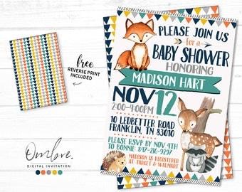Woodland Baby Shower Invitation,Woodland Baby Shower, Forest Invite, Boy Baby Shower, Gender Neutral Baby Shower, Gender Neutral Woodland