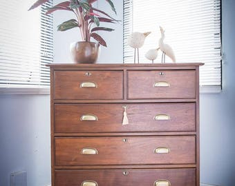 Antique large vintage mahogany chest of drawers
