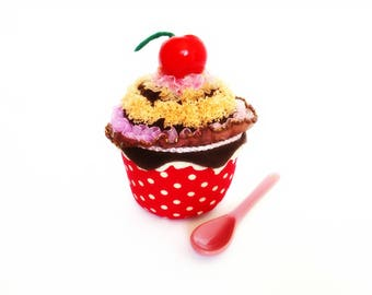 CUPCAKE Cherry and Chocolate Ornamental cake