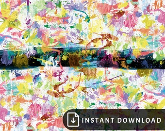 16x20 Colorful abstract art - rainbow painting, multicolor art, paint splatter, high contrast art, bright rainbow living room wall decor