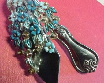 Vintage Jewelry Brooch and Stainless Steel Butter knife One of a Kind Bookmark