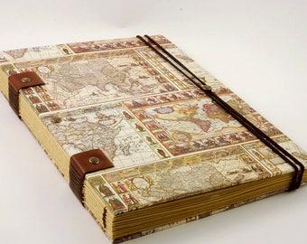 Carnet pour homme format a5, reliure copte, cadeau de Saint Valentin 120 pages, carnet de voyage pour lui, papier kraft haut de gamme