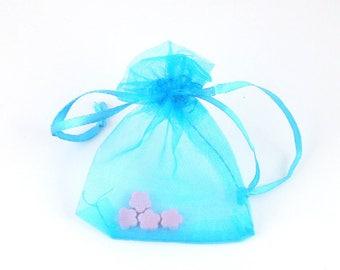 x 10 (29 (A) 7x9cm turquoise organza pouch