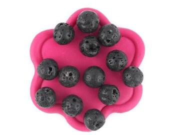 x 10 (9) 8mm black lava beads