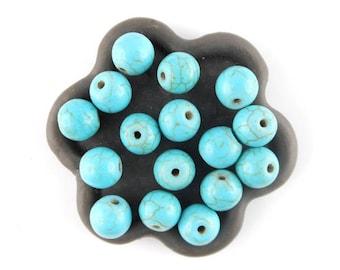 x 20 beads round 8mm turquoise howlite (44 c)