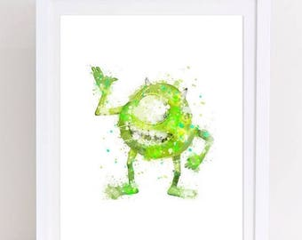 70%OFF monster inc watercolor mike watercolor print monster mike printable wall decor nursery monster inc kids room decor printable download
