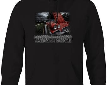 American Muscle Corvette Original in the Rain Hooded Sweatshirt- 5063