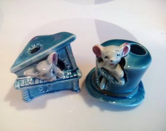 Vintage Mouse in a Top Hat and Piano Porcelain Figurines