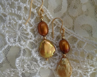 Gold Coin Pearl Earrings- Bronze Pearl Earrings- Gold & Bronze Pearl Earrings- Exotic- Unique Pearl Earrings- Freshwater Pearl Earrings