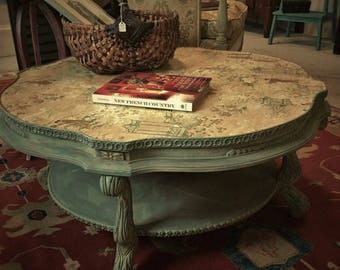 One of a Kind! Custom Coffee Table with Decoupage Top. Painted with Chalk Paint® Decorative Paint by Annie Sloan