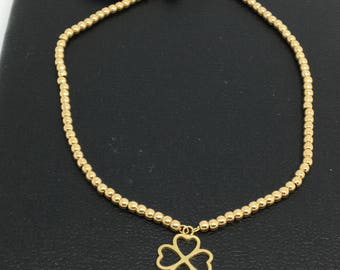 18K Yellow Gold Bead and 4 Hearts Bracelet