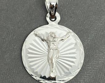 14K White Gold Round Jesus Pendant
