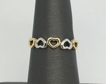 14K Two-Tone Gold Hearts Band/ Ring
