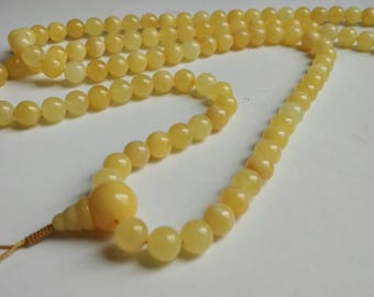 No:1 Royal size opaque light yellow baltic amber 108 bead meditation mala (size Ø9), buddhist meditation, guru bead, white amber