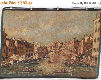 SALE 10% OFF Venetian Tapestry. Rialto Bridge & Gondolas.  Cushion Cover Fabric. Wall Hanging  (4550s)