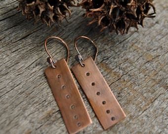 Artisan Earrings, Copper Earrings, Dangle Earrings, Rustic Copper Earrings, Rectangle Earrings