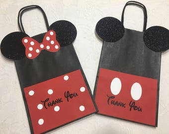 Mickey Mouse Paper Favor Bags- Mickey Mouse Birthday Favor Bags-goodie bags- mickey and minnie goodie bags- mickey goodie bags