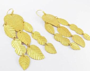 Flowy leaf Gold Earings Handmade jewellery