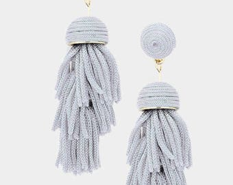 Thread Dome Tassel Earrings Gray