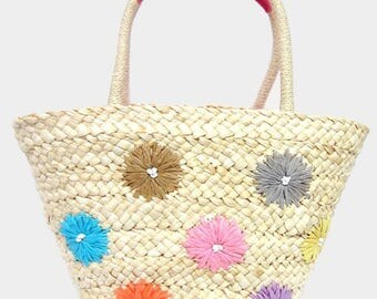 Floral Straw Tote Bag