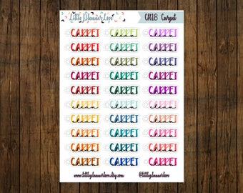 Clean Carpet Multi-Color Word Planner Stickers for all Planners