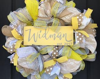 Wedding wreath - wedding decor - church door wreath - yellow wedding - custom wedding decor - wedding sign - custom last name wedding sign -