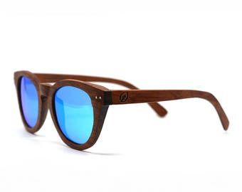 Rosewood Sunglasses Wooden Sunglasses Blue Mirror Lenses Mirror Sunglasses Keyhole Bridge Vintage Sunglasses Cat Eye Sunglasses Trendy