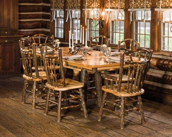 Rustic Hickory Rectangle Trestle Table With 6 Wagon Wheel Chairs   Amish  Made In The USA