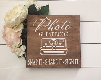 Wedding Photo Guest Book Sign, Polaroid Wedding Guestbook, Snap It Shake It Sign, Wood Wedding Sign, Rustic Wedding Sign, Please Sign