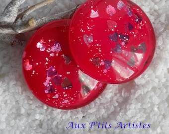 hand painted glass 30 mm cabochon