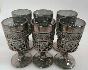 Vintage Anchor Hocking Wexford Pewter Most Goblets Set of 6