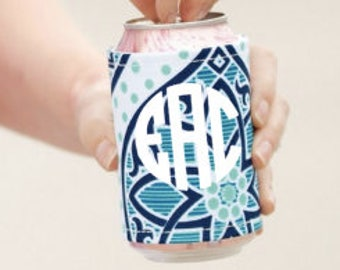 Boho drink wrap ~ monogrammed drink wrap ~ personalized drink cooler ~bridesmaid, graduate, party gift