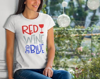 Red, Wine and Blue Shirt, Women's Fourth of July Shirt, USA Shirt