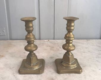 Pair antique Victorian small brass candlesticks