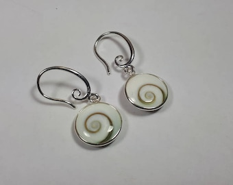 Shiva eye earrings, round set in 92.5 sterling silver,free shipping