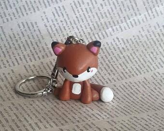 Fox keychain, fox charm, red fox charm, kawaii fox, cute fox keychain, kawaii charm