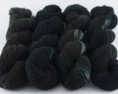 Handdyed semisolid sock yarn Colorway: DARK SHADOWS 75/25 wool/polyamide 100g/420m 3.5 oz/460y 4ply, fingering, black, soft, warm