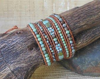 Beaded Leather Wrap Bracelet: Aqua Mix/5 Wrap Bracelet/Mosaic Bracelet/Statement Bracelet/Gift for Her/3rd Anniversary/Boho Wrap Bracelet