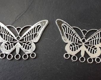 x 6 Butterfly chandelier earring - connecteursmulti row openwork wings - silver - 30 x 23 mm