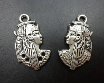 Egyptian pendant, antique charm, character Egyptian Queen in silver, 30 x 18 mm