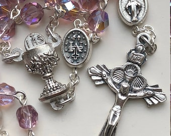 Handmade Catholic Rosary, Eucharistic, First Holy Communion, Iridescent Amethyst Glass and Miraculous Medal Pater Beads, Chalice and Host