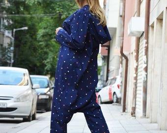 Overall Blue Hooded Jumpsuit, Loose Maxi Jumpsuit, Extravagant Harem Jumpsuit, Drop Crotch Pants Suit by SSDfashion