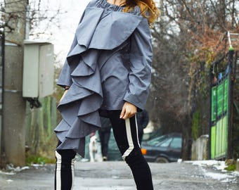 New Loose Long Sleeves Dark Grey Shirt, Extravagant Ruffle Sexy Shirt, Fashion  Women Shirt by SSDfashion