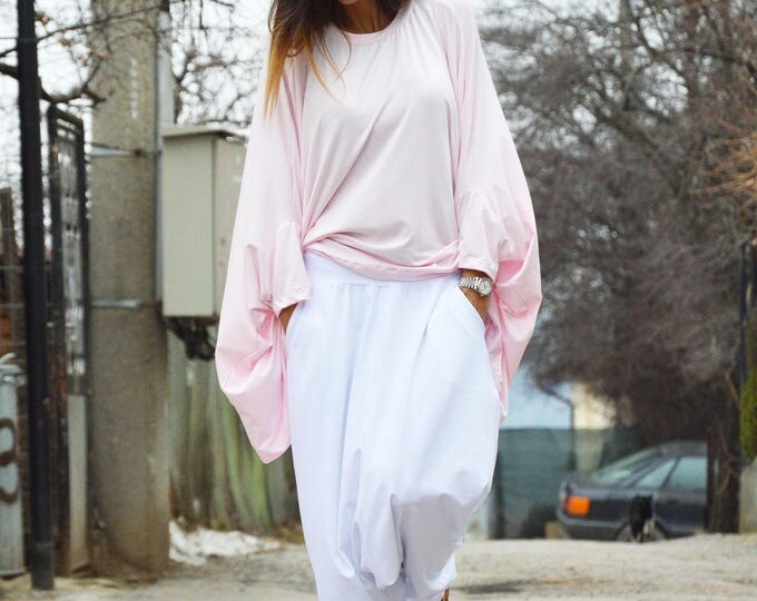 Women Baby Pink Loose Tunic Top, Casual Cotton Shirt, Maxi Oversize Tunic, Long And Short Sleeves by SSDfashion