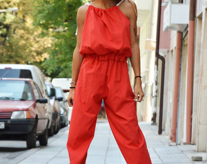Plus Size Red Wide Leg Jumpsuit, Summer Woman Maxi Jumpsuit, Extravagant Daywear Sleeveless Jumpsuit by SSDfashion