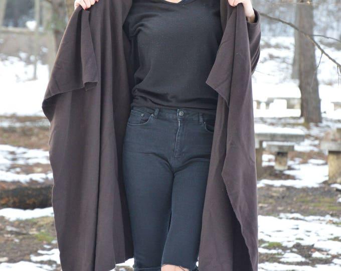 Women Coats, Cashmere Brown Coat, Asymmetric Kasha Coat, Wool Fabric Coat, Large Side Pockets Jacket, Extravagant Fashion Coat by SSDfashion