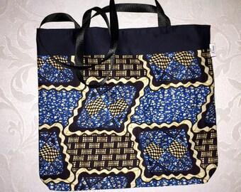 Blue African fabric bag
