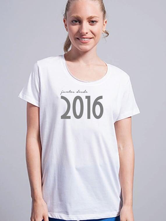 Round neck women t-shirt JUNTOS DESDE (birth year)