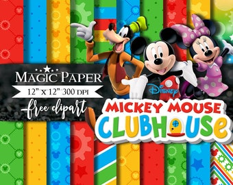 50% OFF SALE Mickey Mouse Clubhouse Papel Digital, Scrapbook, Papeles Digitales