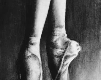 Charcoal Drawing Pointe Shoes Ballet Dancer Original